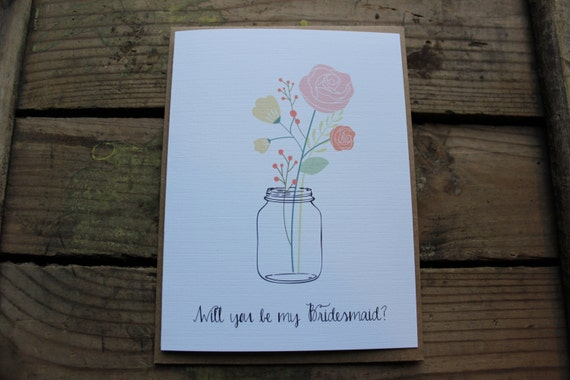 Will you be my Bridesmaid, Matron/Maid of Honor, Wedding Party Card, Mason Jar Card with Envelopes - Set of 5