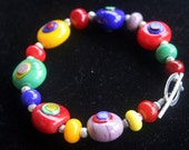 Beautiful Multi- Color Rainbow Lampworking Glass Beaded Sterling Toggle Bracelet