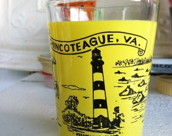 Vintage Shot Glass Yellow Pony Swim and Pony Souvenir Glass Dish Chincoteague Virginia