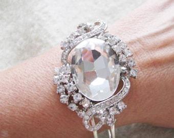 Rhinestone Flip open Bangle Style Bracelet with Rhinestone Focal piece  Bridal Wedding Jewelry Pageant Jewelry