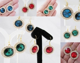 Crystals and Rhinestones Bridal  Wedding Jewelry Earrings Choice of color Pageant Jewelry