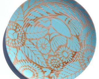 """Indian Lace Wood Grain 10"""" Plate, Teal"""