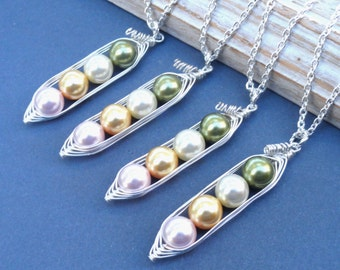 Peas in a pod, Set of 4, Four Peas In A Pod Necklaces,  best friends necklaces, Birthstone necklaces, Bridesmaids Gifts