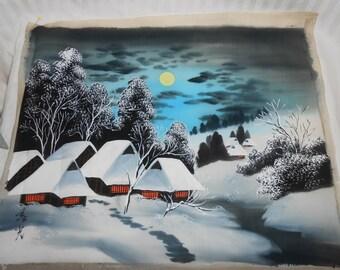 Vintage Japanese painting on silk Japanese scene hand painted on silk original silk painting WWII Asian art Japanese silk painting