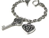 Antique Silver Victoriana Heart Lock and Key Charm Bracelet, Steampunk Locket Chain Bracelet, Romantic Keepsake Jewelry, Anniversary Gift