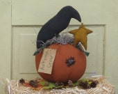 Primitive Pumpkin with Crow & Star - Fabric - Fall Centerpiece - Autumn Crow - Table Decor