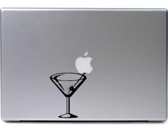 Macbook - Martini drink glass apple logo - funny car truck sticker cute puppy dog bumper sticker decal