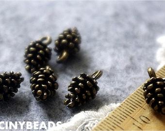 Sale-lead nickel free-40 pcs three D fabulous antique bronze pine cone charms-F868