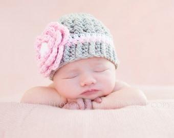 Girls Cross Stitch Hat Grey Pink and White