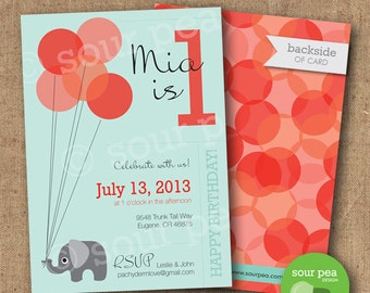 "Birthday Invitation - Custom DIY Printable Invitation - ""Elephant Balloons"""