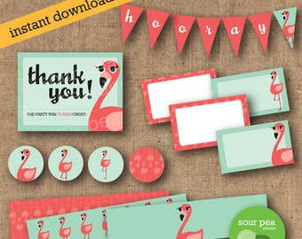 "INSTANT DOWNLOAD: DIY Printables - Party Pack - ""Ready, Set, FlaminGO"""
