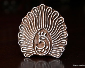 Hand Carved Indian Wood Textile Stamp Block- Stylized Dancing Peacock