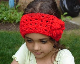 Red  Boho Style Crochet Headwrap with a Flower / Headband / Earwarmer Sizes Adult, Teen