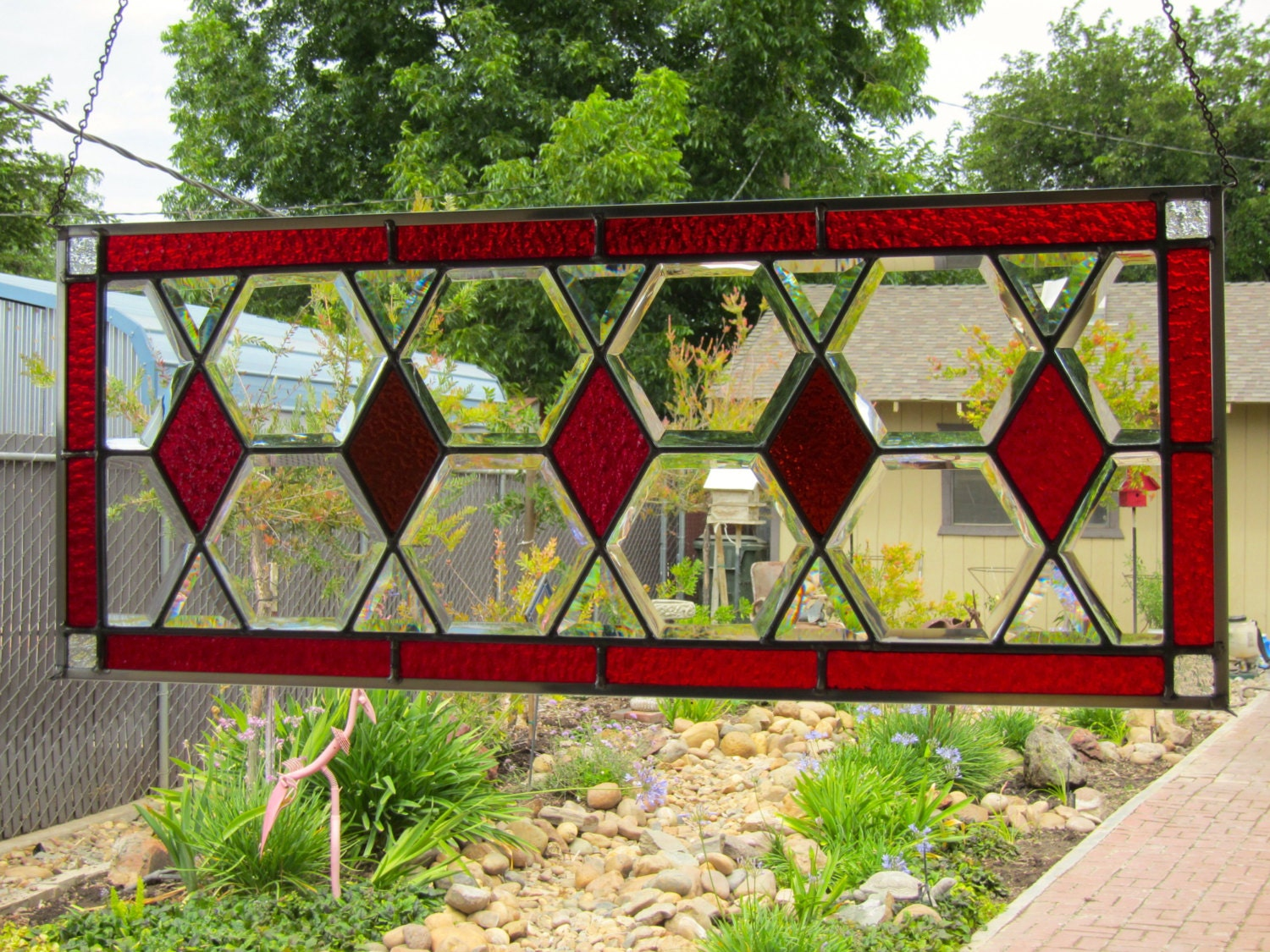 Red Stained Glass : Red and amber diamonds stained glass window