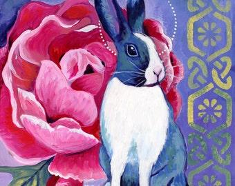 "Rosy Bunny 8"" x 8"" PRINT - bunny art. dutch rabbit, purple, pink rose, flower art, celtic art, pink flowers"