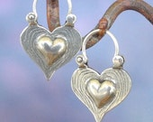 Heart Earrings - sterling silver - hoop