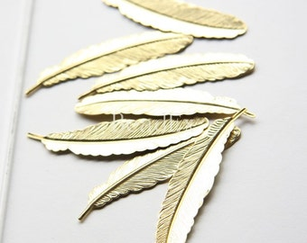 6pcs / Feather / Pendant / Raw Brass / 53x12mm (P268)