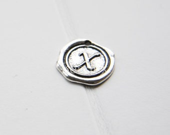12pcs / Wax Seal Letter / Oxidized Silver Tone / Base Metal / Charm / Alphabet X (YA15706//E335)