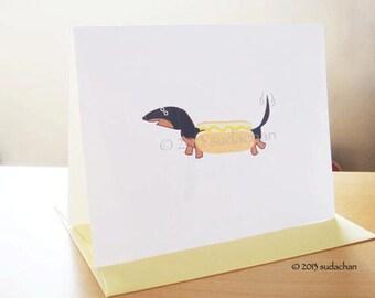 "Dachshund Dressed as Hot Dog Note Cards - Black/Tan - Single Card (4.25"" x 5.5"")"
