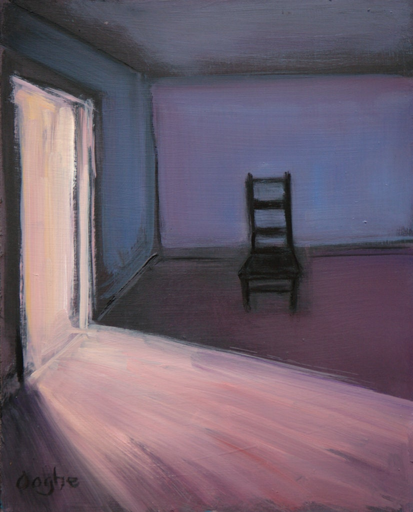 Empty Room: Original Oil Painting Almost Empty Room Chair Interior