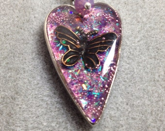 Lilac glitter resin heart with butterfly charm
