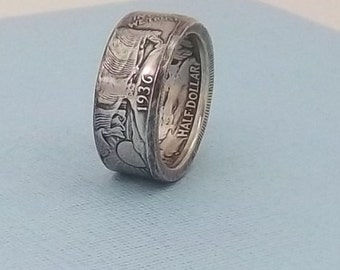 Silver coin ring walking liberty half dollar 90% fine silver jewelry year 1936 size 10