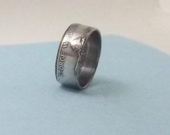 Silver coin ring 1982 George Washington Commemorative silver proof Half Dollar 90% fine silver jewelry size 11