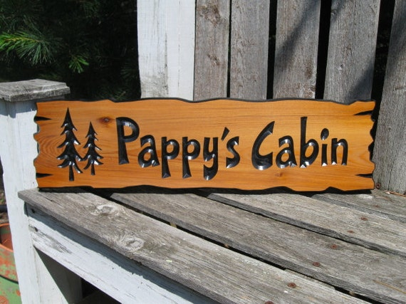 """Personalized Cabin Signs -  Routed Wooden Signs -  Wooden Cabin Signs -  Campsite Signs -  Cedar Signs - 22"""" x 6"""""""
