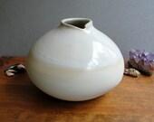 Large Squat White Bud Vase