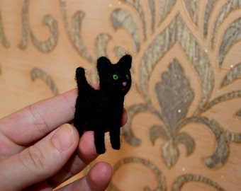 Felted cat,black cat, cat miniature, neddle felted cat, super tiny, felted toys, toy cat, natural wool toys