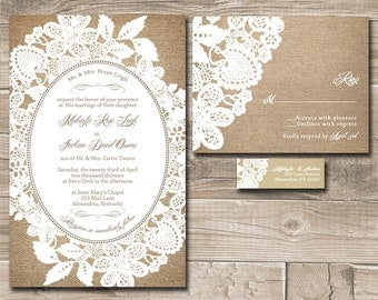 Burlap Wedding Invitations, Rustic Burlap and Lace Budget Wedding Invitation - Sample
