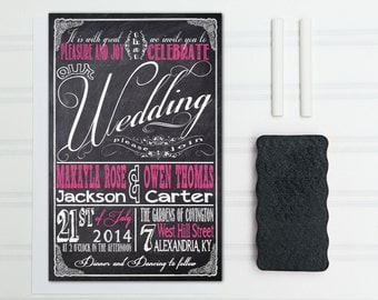 Chalkboard Wedding Invitations, Retro Typography, Black and Pink Budget Invites