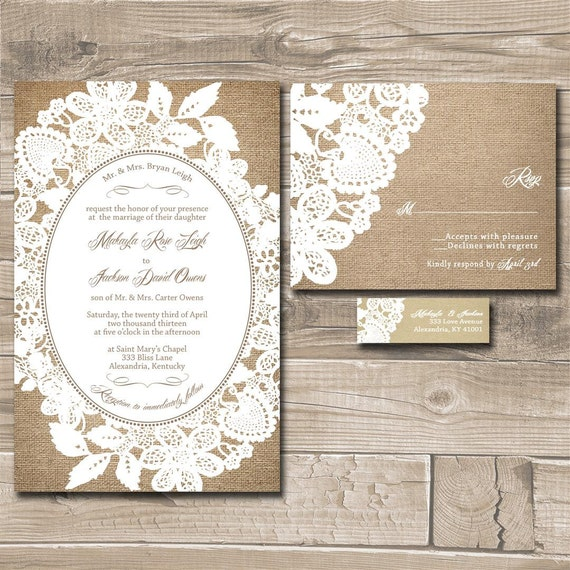 Lace Wedding Invitation Suite Burlap and Lace Custom – Lace for Wedding Invitations