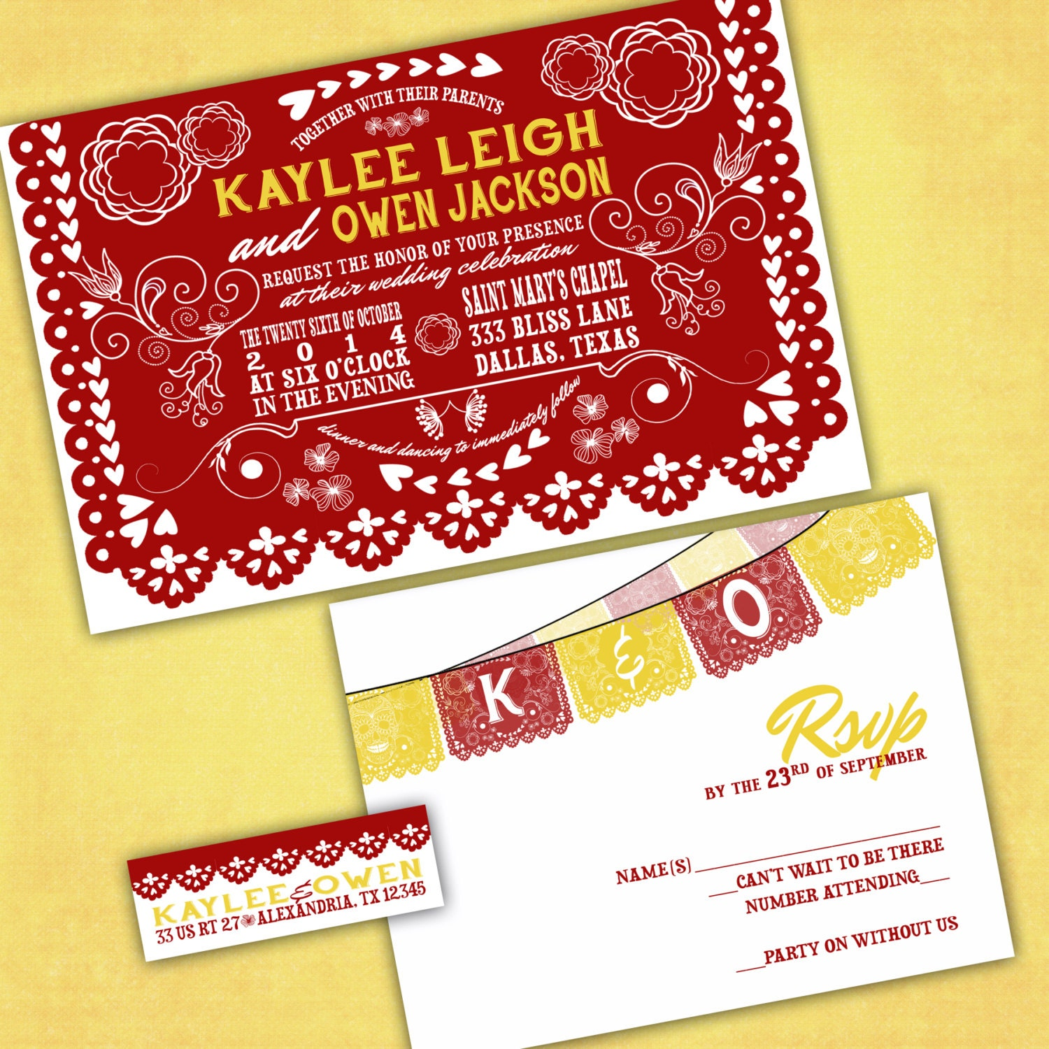 mexican wedding invitations. mexican cutout banner wedding invitations \u2013 papel picado invites day of the dead sample