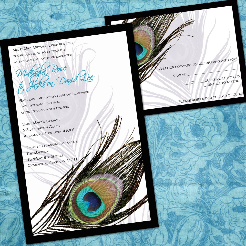 Peacock Wedding Invitations: Printable Peacock Wedding Invitations Peacock By