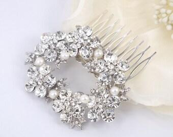 Lolita - Freshwater Pearl and Rhinestone Bridal Comb