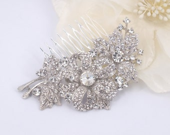 Morning Glory - Vintage style Rhinestone Bridal Comb