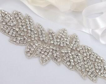 Emmy - Vintage Style Rhinestone Crystals Wedding Head Band , Sash