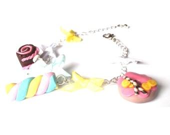 Cute Bracelet Mini Food jewelry ( donut bracelet marshmallow bracelet polymer clay jewelry doughnut funky jewelry gift girl )