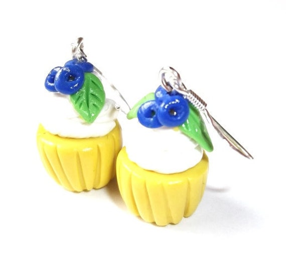 Blueberry Cupcake Earrings ( kawaii kids earrings fake food polymer clay food cupcakes food earrings cupcake jewelry miniature food )