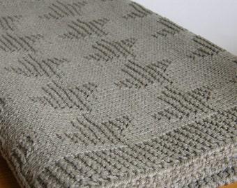 Linen throw blanket grey-hand knit blanket-organic blanket-linen bedspread king queen-linen coverlet-shabby chic-afghan-custom size blanket