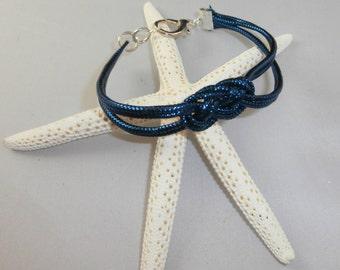 Sparkly Blue Cord Celtic Knot Bracelet