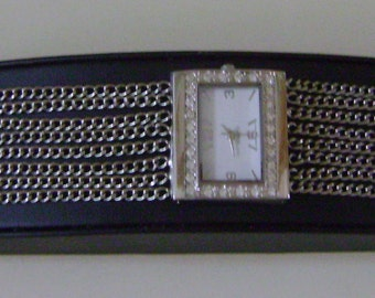 Multi-strand Chain Crystal Watch
