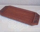 Vintage SELFHELP CRAFT Thailand Wood Wooden Serving Tray Platter.