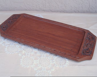 Vintage SELFHELP CRAFT Thailand Wood Wooden Serving Tray Platter.