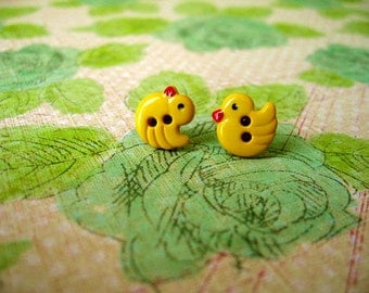Yellow Duck Earrings,  Duck Pendant, Yellow Duick Bird Buttons Earrings