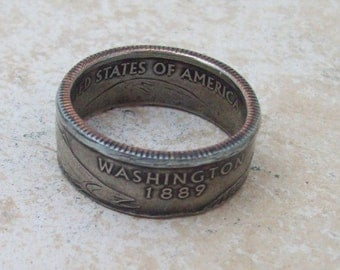 Made To Order uNiQue HaNDMaDe Jewelry WaSHiNGToN STaTe QuaRTeR RiNG CHRiSTMaS GiFT or SToCKiNG STuFFeR  You Pick the Perfect Size 5-10