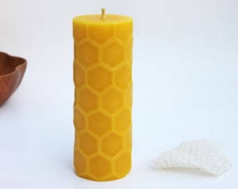 beeswax pillar candle, bold honeycomb texture, made with pure beeswax, 6 inch pillar - as seen on Apartment Therapy