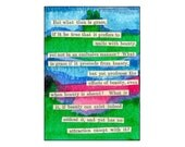Original, One of a Kind, Watercolor Mixed Media ACEO Collage - Affordable Art featuring a Philosophical Quote from Friedrich Schiller