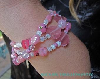 Feminine and Fashionable MIchael Tarillion Artisan Original Pink QuartzTripleStrand Boho Bohemian Bracelet FREE SHIPPING USA